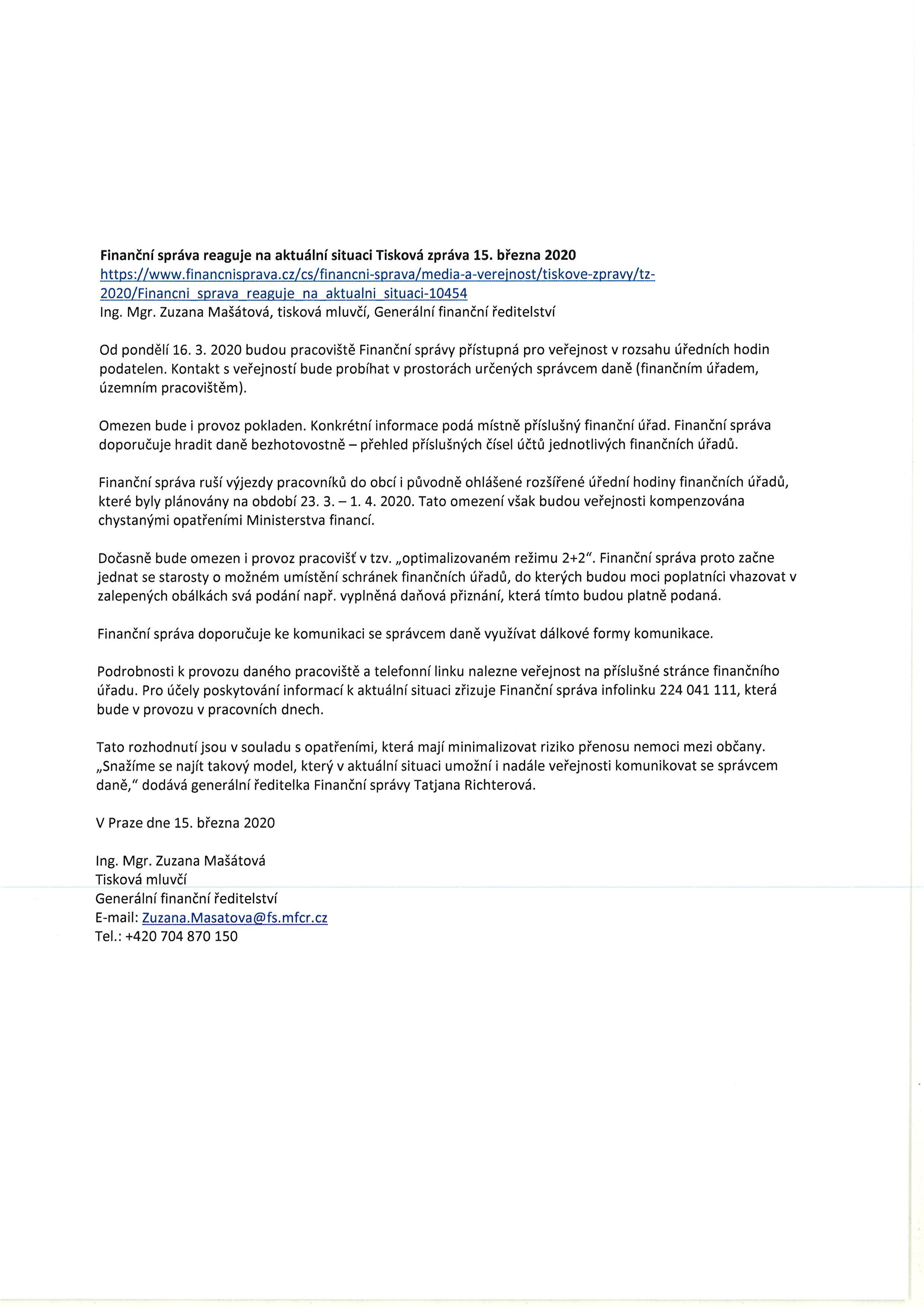 Omezení provozu finančních úřadů