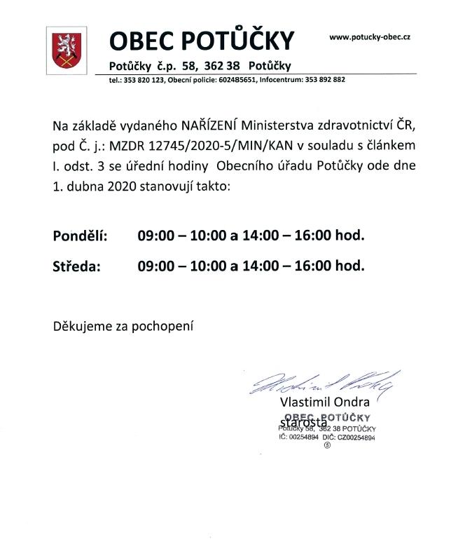 Omezení úředních hodin Obecního úřadu Potůčky