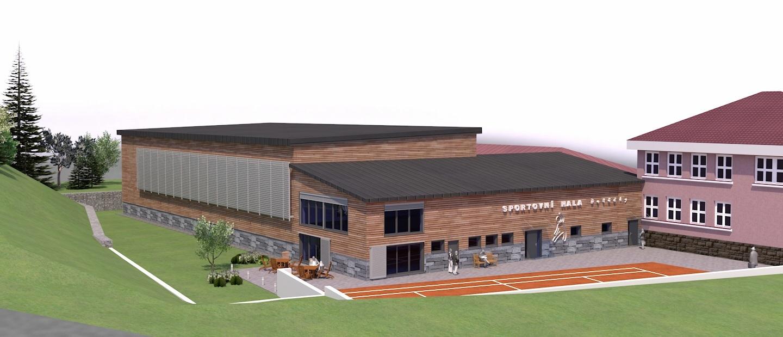 Studie plánované stavby sportovní haly