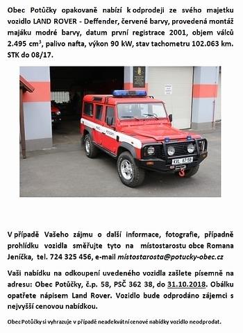 Nabídka prodeje vozidla Land Rover